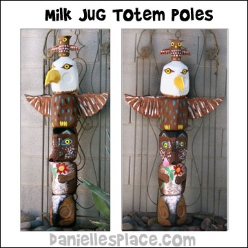 Milk Jug Totem Pole Craft from www.daniellesplace.com �2010