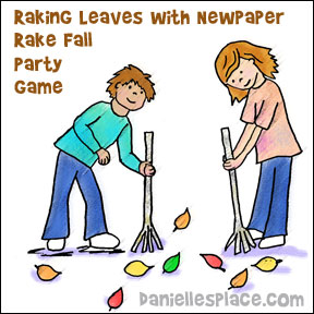 Raking Leaves Game - Review Lesson or use as a Fall Party Game from www.daniellesplace.com where learning is fun!