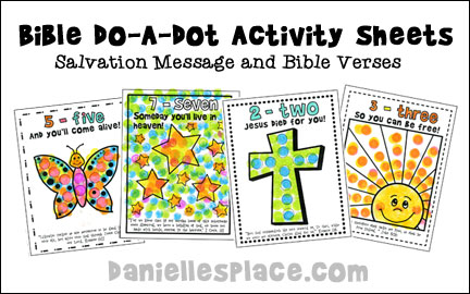 Do-A-Dot Bible Activity Sheets  with Salvation Message and Bible Verses