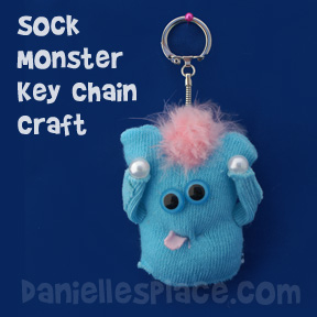 Sock Monster Key Chain Craft for Kids from www.daniellesplace.com