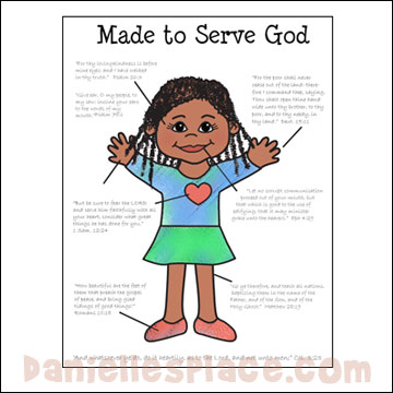 Made to Serve God Coloring Sheet  for God Made Me Bible Lesson from www.daniellesplace.com