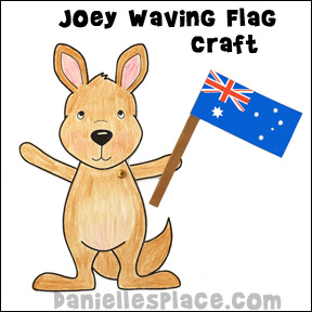 Australia Day Craft - Little Joey Waving Australian Flag Craft for Kids for Homeshool unit study on Australia from www.daniellesplace.com where learning is fun!