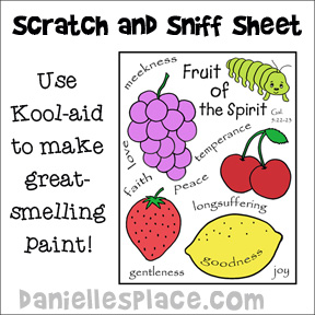 Fruit of the Spirit Scratch and Sniff Bible Craft for Preschool and Elementary Children from www.daniellesplace.com where learning is fun!
