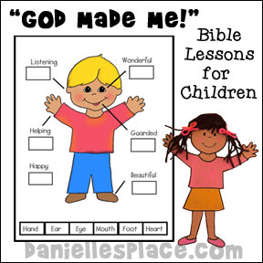 """God Made Me"" Bible Lessons for Preschool and Elementary Children from www.daniellesplace.com"