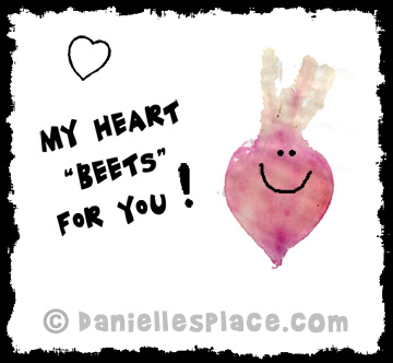 """My Heart 'Beets' for You!"" Valentine's Day Card  Craft for Kids from www.daniellesplace.com - Copyright 2014"