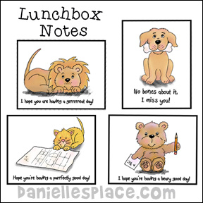 Lunchbox Notes or Backpack Notes from www.daniellesplace.com