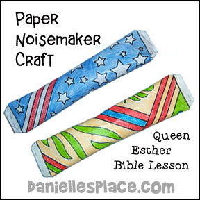 Paper Noisemakers Bible Craft for Queen Esther Bible Lesson from www.daniellesplace.com