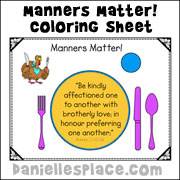 Thanksgiving Activities for Older Children - Manners Matter Coloring Sheet from www.daniellesplace.com