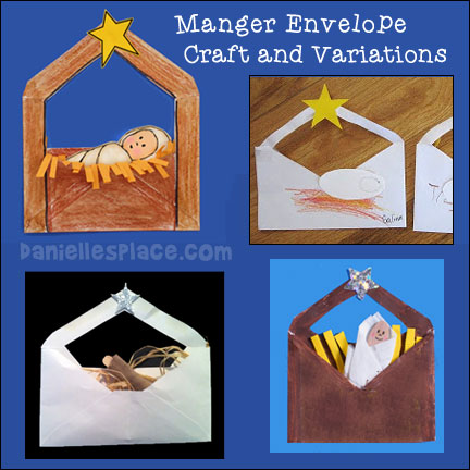 Baby Jesus in a Manger Envelope Craft with Variations from www.daniellesplace.com