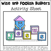 Wise and foolish builders activity sheet www.daniellesplace.com