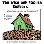The Wise and Foolish Builders Bible Activity Sheet from www.daniellesplace.com