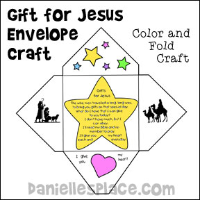 Gift for Jesus Envelope Craft for Kids from www.daniellesplace.com