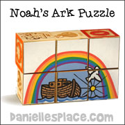 "Noah's Ark Block Puzzle for ""More Wise and Foolish Builders"" Sunday School Lesson from www.daniellesplace.com"
