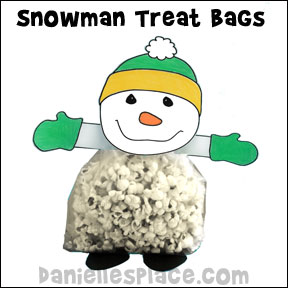 Snowman Popcorn Treat Bag Craft from www.daniellesplace.com