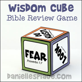 "Bible Game - Children learn about Wisdon Bible Cube Game for the Sunday School Lesson ""More Wise and Foolish Builders"" from www.daniellesplace.com"