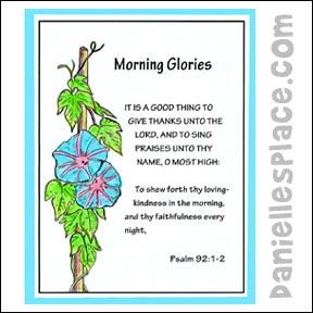 "Morning Glory Coloring Sheet for ""Growing in God's Garden"" Sunday School lesson for children from www.daniellesplace.com"