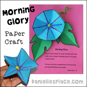 Flower Paper Craft - 3D Morning Glory Paper Craft from www.daniellesplace.com