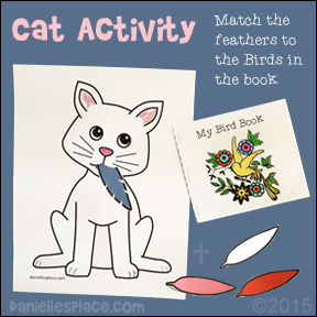 Cat Activity Sheet with Printable Bird Book - Children match the feather to the appropriate Bird - www.daniellesplace.com