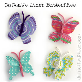 Butterfly Craft - Cupcake Liner Butterflies from www.daniellesplace.com
