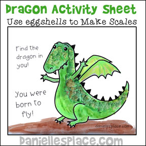 "Textured Dragon Activity Sheet to go along with the book ""The Crocodile that didn't Like Water"" from www.daniellesplace.com"