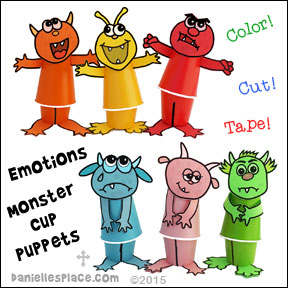 "Emotions Monster Cup Puppet Craft from www.daniellesplace.com. Use this craft to go along with the children's book ""Glad Monster, Sad Monster""."