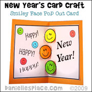 Happy New Year's Card Craft - Smiley Face Pop Out Card Craft