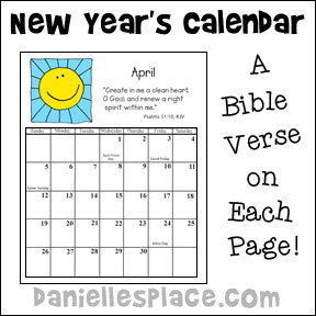 New Year's Calendar of Scriptures Craft for Kids from www.daniellesplace.com
