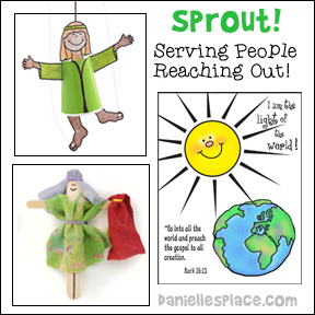 Sprout! Serving People, Reaching Out! Sunday School Lesson and Crafts from www.daniellesplace.com