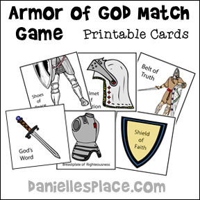 Armor of God Match Game from www.daniellesplace.com  - Great game to play to teach the Armor of God