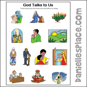 God Talks to Us Activity Sheet from www.daniellesplace.com