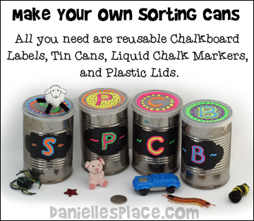 ABC Sorting Cans - Make your own sorting  cans to teach the alphabet from www.daniellesplace.com