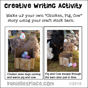 "Creative Writing Activity for ""Chicken, Pig, Cow"" Children's Book by Ruth Ohi from www.daniellesplace.com"