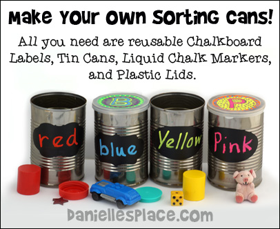 Color Sorting Cans for Preschoolers from www.daniellesplace.com
