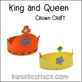 Crown Craft - Printable King and Queen Crown Patterns from www.daniellesplace.com