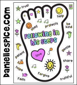 Following Footstep Coloring Sheet Pic on lord teach us to pray coloring page