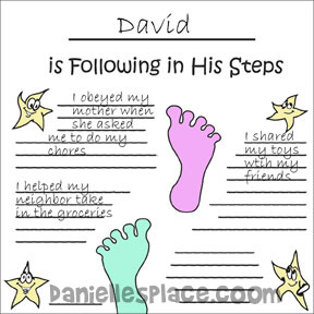 "Following in His Steps Printable Poster for Children to go with ""Following in His Steps"" Bible Lesson from www.daniellesplace.com"