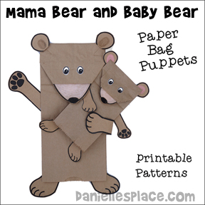 Mama Bear and Baby Bear Paper Bag Puppets from www.daniellesplace.com
