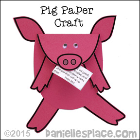 Paper Pig Holding a Note Craft for Kids from www.daniellesplace.com