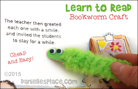 Learn to Read Bookworm Pointers Craft for Children from www.daniellesplace.com - Children will become 'bookworms' in no time with these adorable bookworm pointers. copyright 2015 - Digital by Design, Inc.
