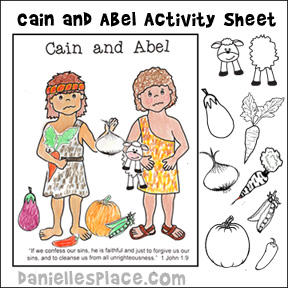 cain and abel activity and coloring sheet for childrens ministry and sunday school children glue - Kids Activity Sheet