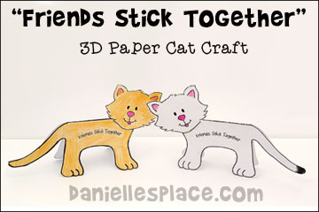 """Friends Stick Together"" 3D Cat Craft for Children's Ministry for the Sunday School lesson about Ruth and  Naomi"