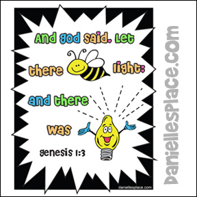 Let There be Light Bible Verse Coloring Sheet