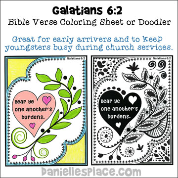 """Bear Ye One Another's Burdens"" Bible verse and Doodlers for Sunday School from www.daniellesplace.com"