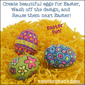 Easter Egg Decorating Fun - These eggs can be used over and over, just wash off the decorations, and reuse them next year. www.daniellesplace.com