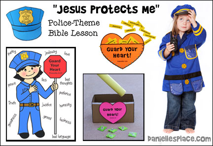 """Jesus Protects Me"" Police-themed Bible Lessons for Chidlren's Ministry from www.daniellesplace.com"