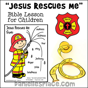 Jesus Rescues Me Bible Lesson with Fireman-themed crafts and activities for children from www.daniellesplace.com