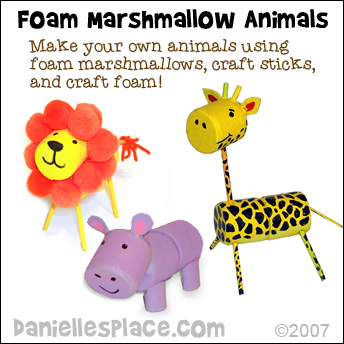 Foam Marshmallow Animals - Use foam marshmallows, craft foam, and wooden dowels to make animals from www.daniellesplace.com