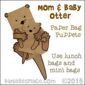 Mom and Otter Paper Bag Puppets Craft from www.daniellesplace.com