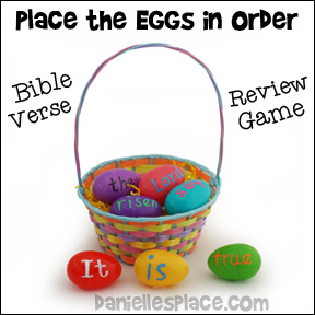 """Place the Eggs in Order"" Bible Verse Review Game from www.daniellesplace.com"