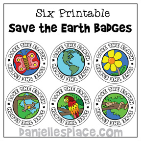 six printable save the earth badges
